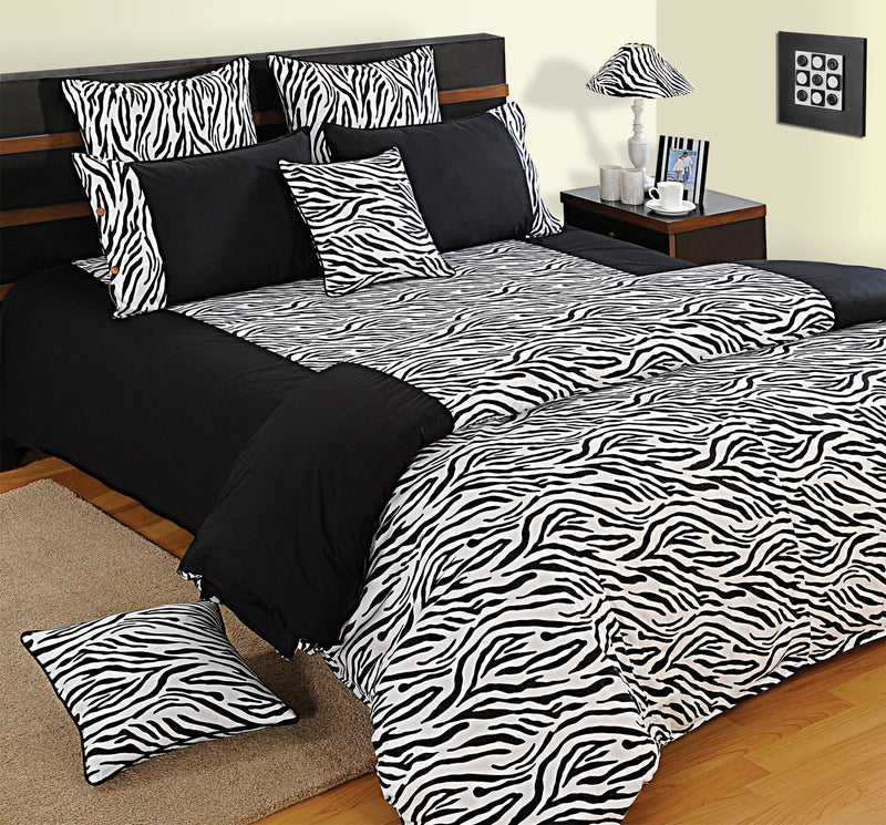 ShalinIndia Bedroom Decoration Bedding Set of Black and White Duvet Cover Pillowcase Shams Cushion Cover for Twin Bed