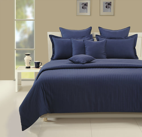 ShalinIndia Bedroom Decoration Bedding Set of Navy Blue Duvet Cover Pillowcase Shams Cushion Cover for Twin Bed