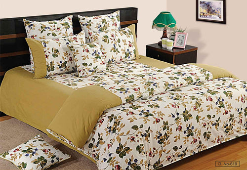 ShalinIndia Bedroom Decoration Bedding Set of Blue Green Floral Rose Duvet Cover Pillowcase Shams Cushion Cover for Twin Bed
