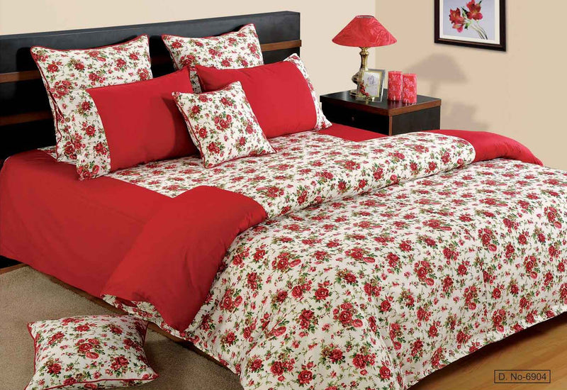 ShalinIndia Bedroom Decoration Bedding Set of Red Duvet Cover Pillowcase Shams Cushion Cover for Twin Bed