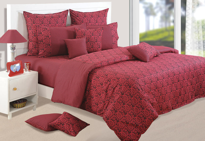 ShalinIndia Bedroom Decoration Bedding Set of Maroon Red Duvet Cover Pillowcase Shams Cushion Cover for Twin Bed