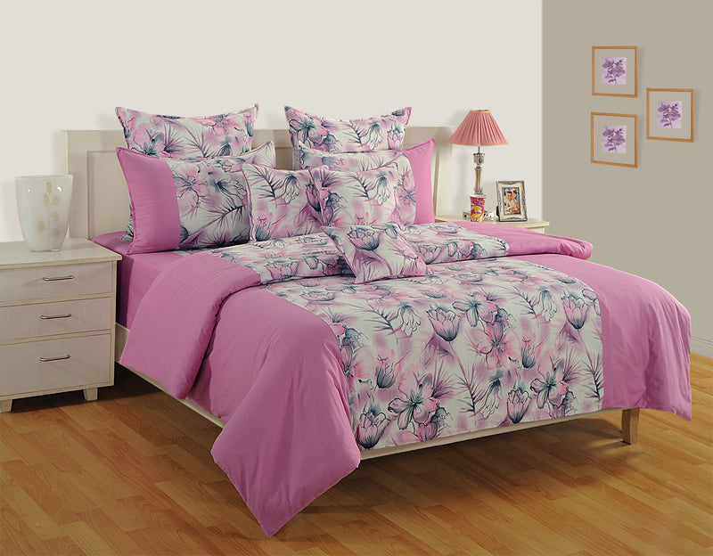 ShalinIndia Bedroom Decoration Bedding Set of Pink Floral Duvet Cover Pillowcase Shams Cushion Cover for Twin Bed