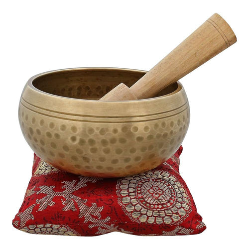 Musical Instrument for Meditation with Stick and Cushion 4 Inches Bell Metal Tibetan Buddhist Singing Bowl- Superior Quality