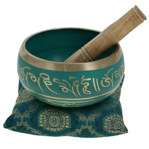 Meditation Singing Bowl Buddhist Art Green Tibetan Décor 5.5 Inch