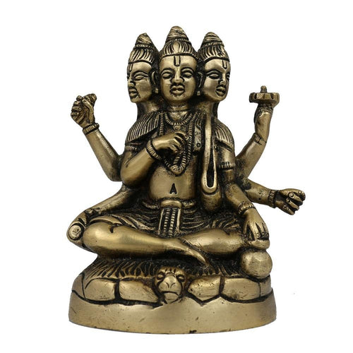 Statue Brahma Vishnu Shiva Sculpture Art Hindu; Brass; 3 x 2.5 x 4.5 Inches