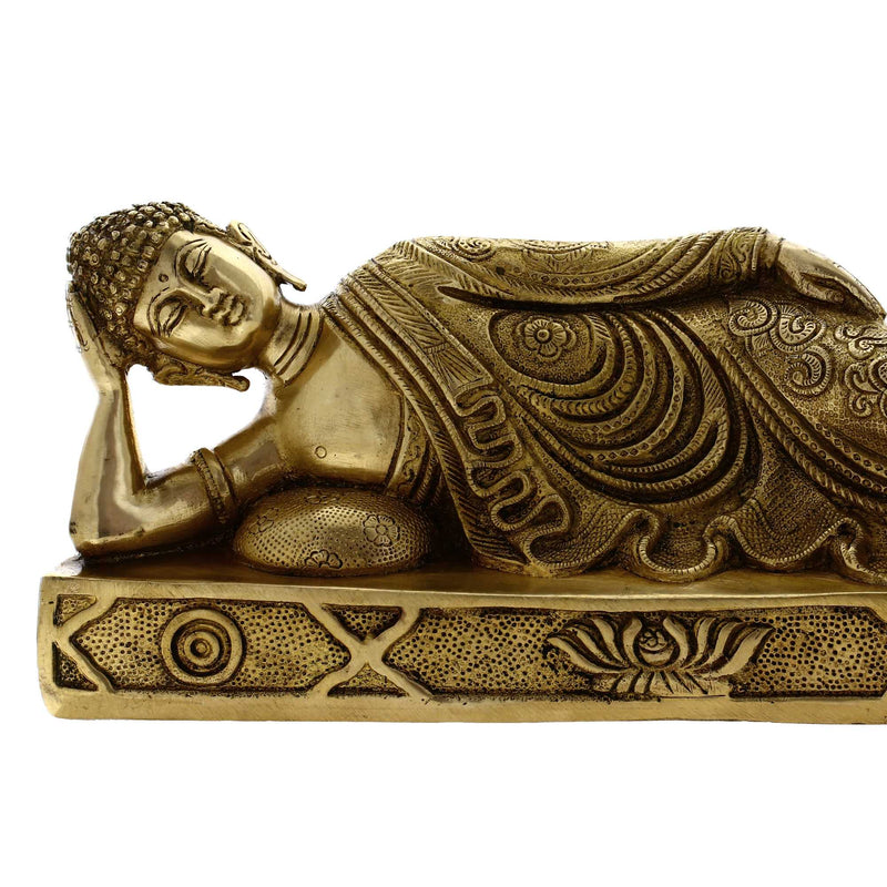 Brass Metal Sleeping Buddha Statue Buddhist Art Length 12 inches