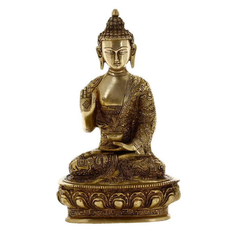 Seated Buddha Statue Buddhist Gifts Brass Metal Art 10.25 Inches