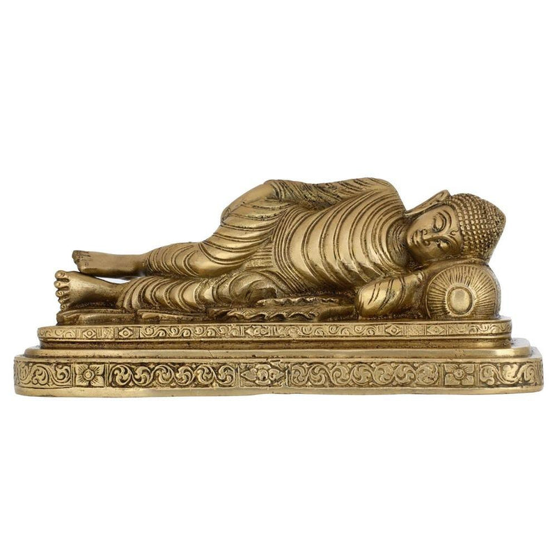 "Sleeping Buddha Figurine Buddhist Art Metal Brass Indian Gifts 4.5"" X 6"" X 3"""