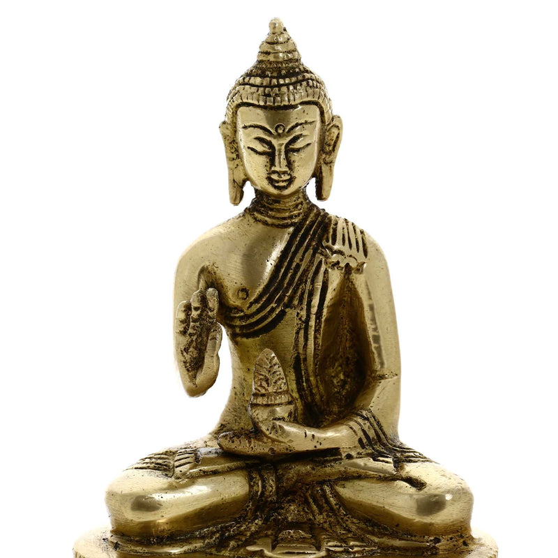 Buddhist Art Gifts Meditating Buddha Collectible Statue Brass Indian 4.5 Inches