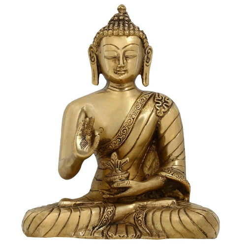Meditating Buddha Statues Buddhist Religious Ornaments Living Room Brass 7.5 Inches
