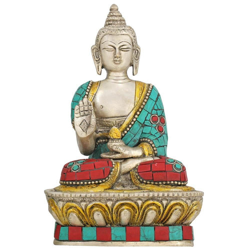 Buddha Figurine Abhaya Mudra Colorful Clothes Buddhist Décor Brass 6.5 Inch