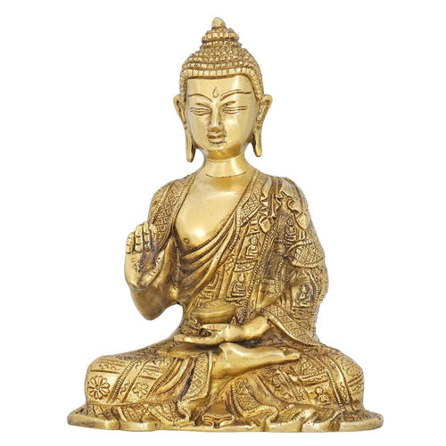 Handmade Indian Hindu Religious Statue Brass Sculpture of Lord Buddha 8 Inch 1.6 Kg