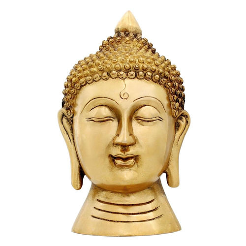 "Buddha Figurine Wall Décor Buddhism Brass Statue Indian Art Hinduism 7"" X 7"" X 4"""