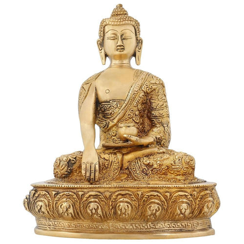 Indian Art Hindu Religious Statue Brass Handmade Sculpture of Lord Buddha 9 Inch 2.5 Kg