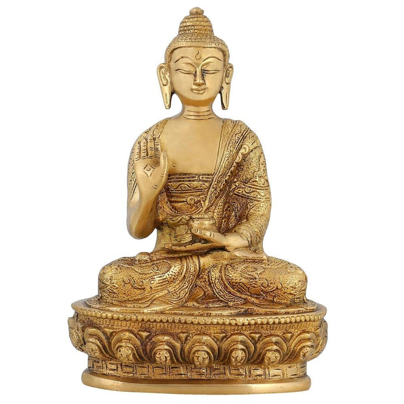 Hindu Handmade Indian Religious Statue Brass Sculpture of Lord Buddha 8 Inch 1.7 Kg
