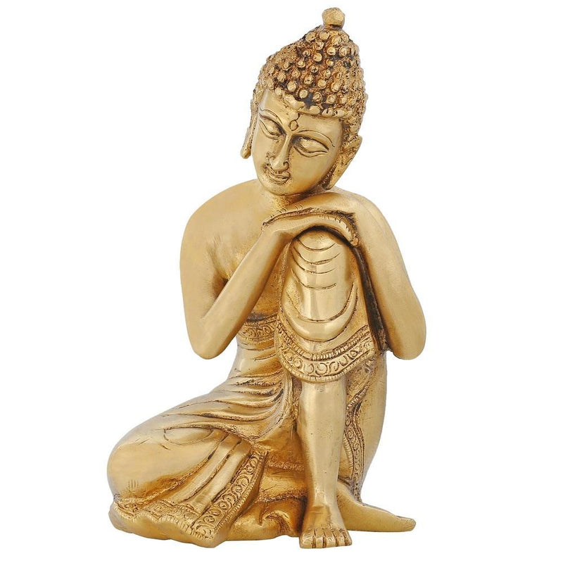Religious Items Buddhist Decor Brass Metal Art Thinking Buddha Statue Indian 7.5 inch 2.2 Kg