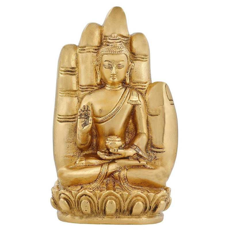 Religious Brass Statue Medicine Buddha Buddhism Décor Indian 6 Inch
