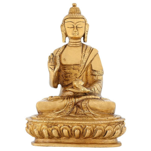 Buddhist Art Buddha Figurine And Sculpture For Home Brass Statue 5 Inch 800 Gram