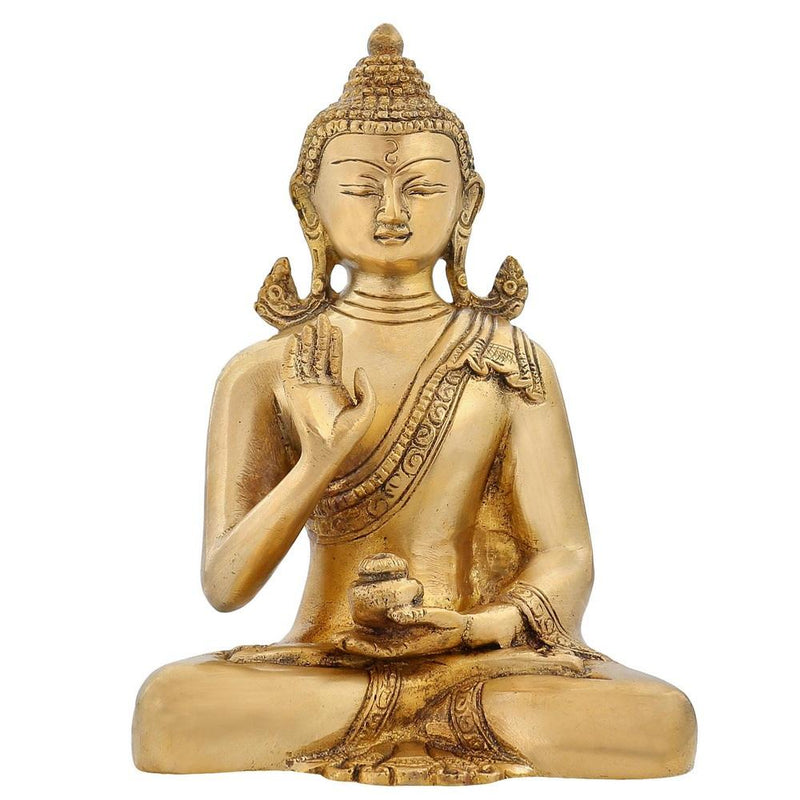 Small Sitting Gautama Buddha God Brass Statue Figurine doing Meditation Golden Color Tibetan Asian Garden Home Décor Religious Gifts 6 inch