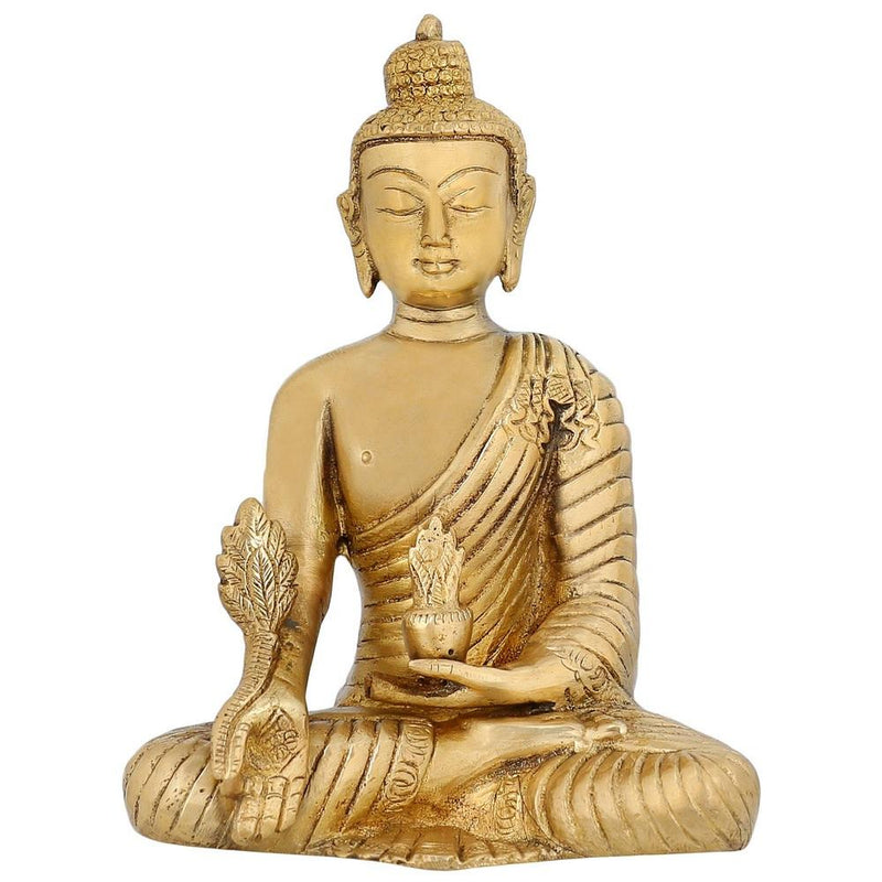 Buddhist Art Home Décor Religious Gifts Medicine Buddha Statue Brass Metal Art 7 inch