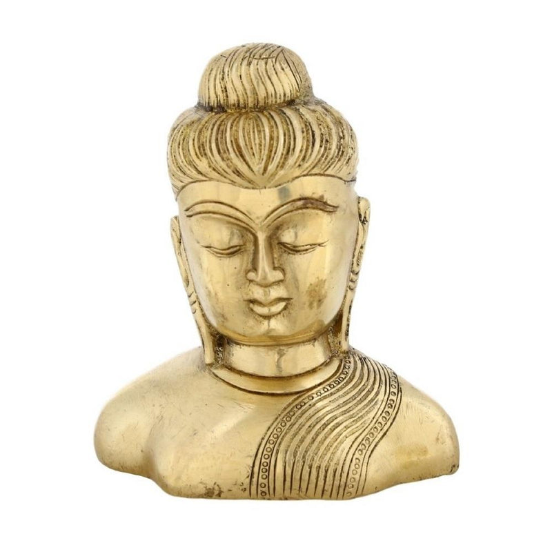 Shalinindia Buddhism Statue Décor The Buddha Bust 4.5 Inch BrassWeight-840 Grams