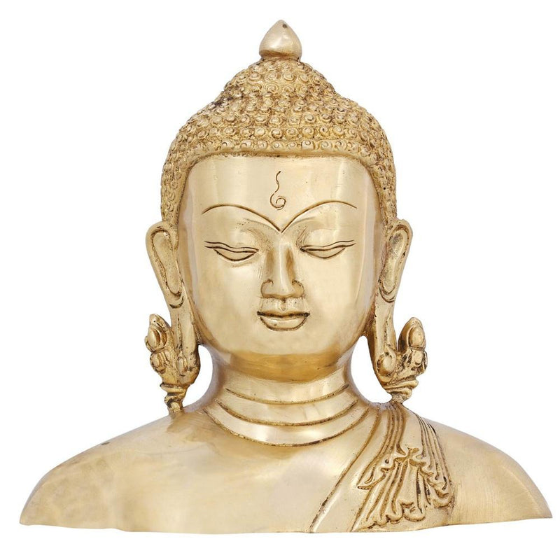 Brass Sculpture Buddha Bust Statue for Home Décor Buddhism 6.5 Inch