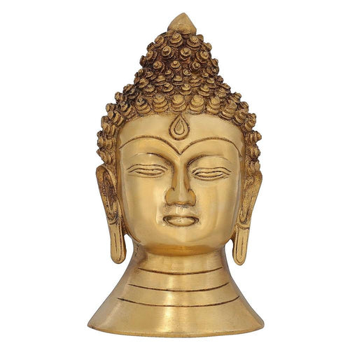 Head Buddha Wall Décor Buddhism Statue for Home Brass Metal Art 8.5 Inch