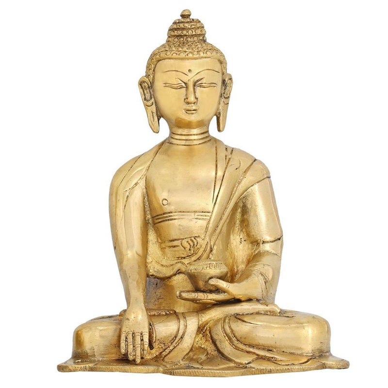 Earth Buddha Statue Buddhist Sculpture for Home Décor Brass 6 Inch