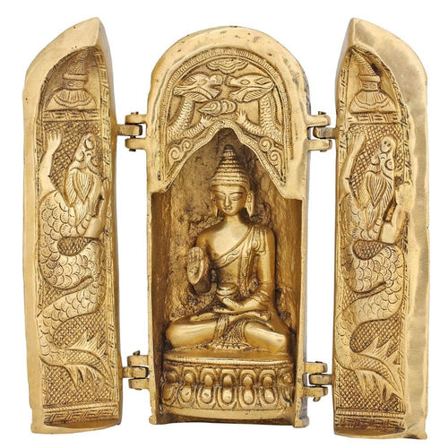 Unique Buddha Statue In A Temple Buddhist Art Décor Brass 7.5 Inch