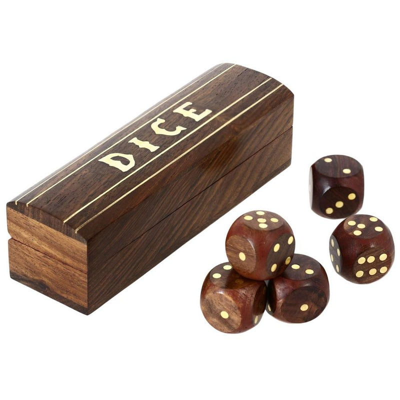 Handmade Indian Wooden 5 Dice Game with Brass Inlay Wood Storage Box