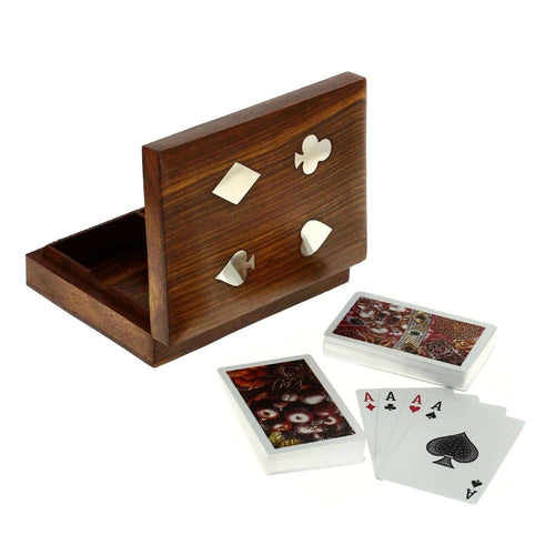 Handmade Indian Wooden Double Playing Card Storage Box with Brass Inlay