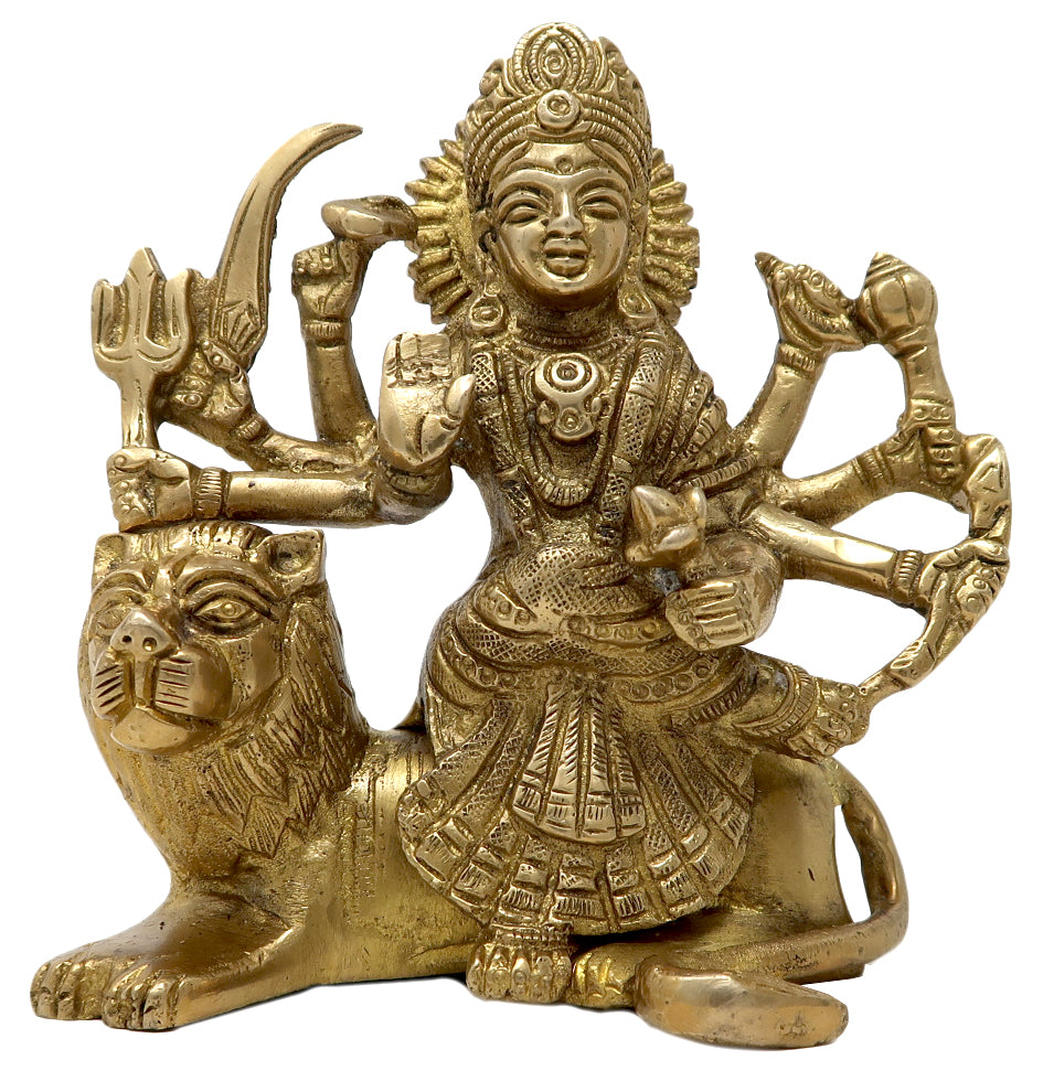 Small Brass Durga Statue Hindu Puja Idol Religious Items for Home Temple  4 5 In