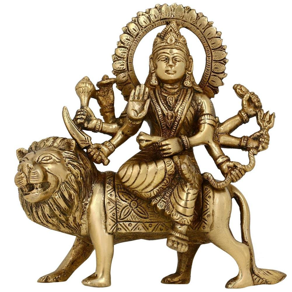 Handmade Indian Brass Ma Durga Statue - Hindu Religious Items for Home Puja  or Temple - 6 25 Inches Tall