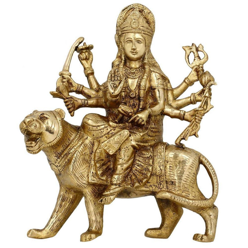 Brass Sculptures And Statues Durga Idol Religious Hindu Home Décor 8 Inches