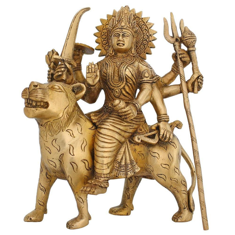 Religious Gifts Goddess Ma Durga Statue Brass Sculpture Art Indian Décor Hindu Puja Idol 8.5 Inch