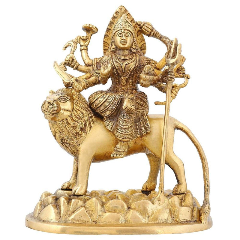 Hindu Idol Durga Devi Puja Accessories for Home Mandir Temple Brass 7.5 inch1.7 Kg
