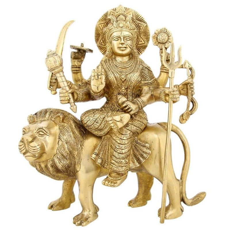 Shalinindia Brass Idol Hindu Goddess Durga Devi Indian11 InchWeight-4.1 Kg