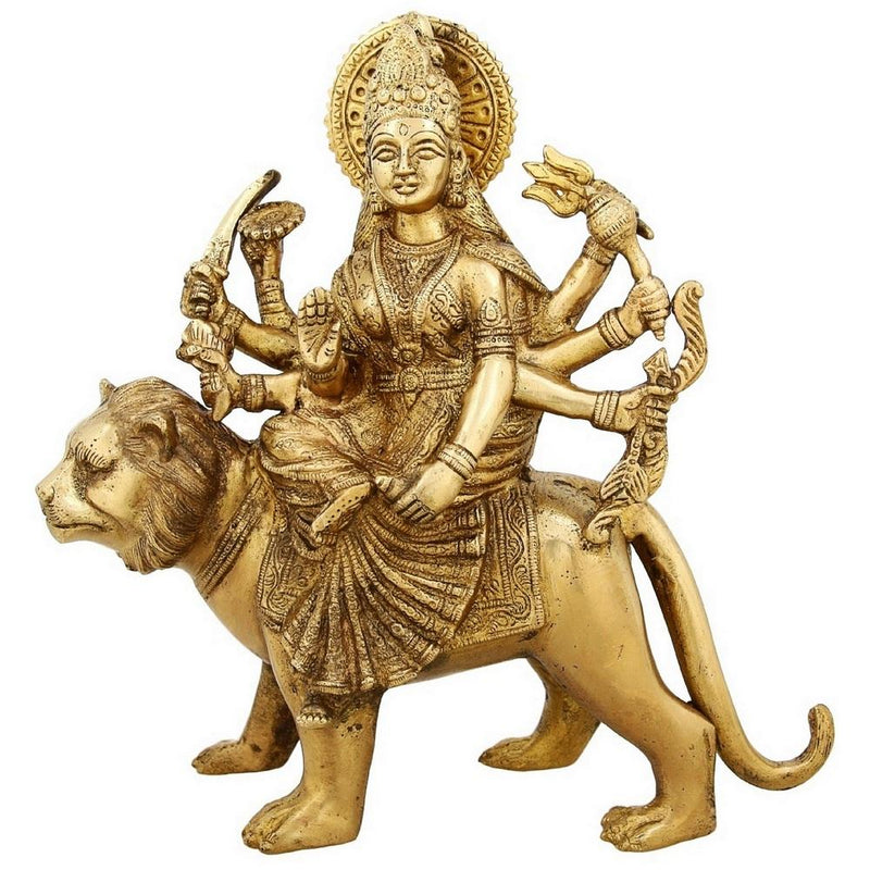 Shalinindia Brass Statue Goddess Durga Sitting Indian Home Décor11 InchWeight-4.2 Kg