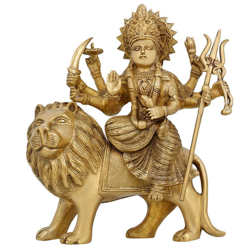 Brass Statue Ma Durga Mata Rani Hindu Idol for Home Mandir 10.5 Inches Religious Gifts