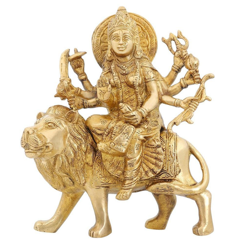 Collectible Figurines Hindu Goddess Durga Brass Statues H: 8.5 Inches W: 2.5 Kg