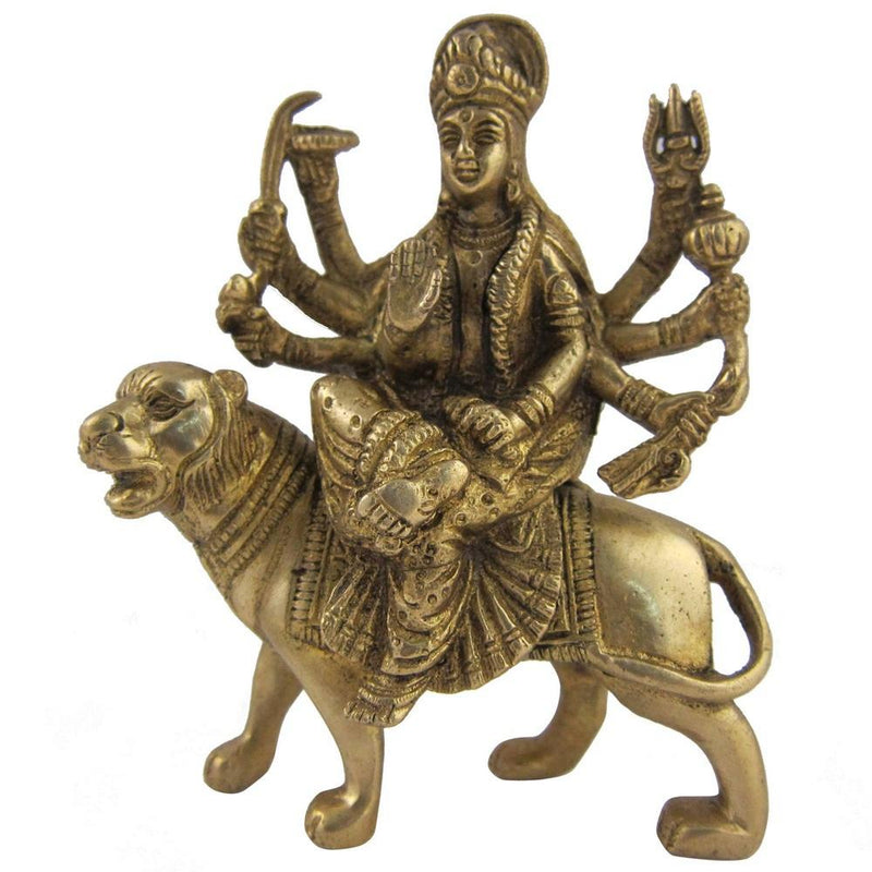 Hindu Goddess Statue Durga Figurine Indian Religious Sculptures 5 Inches