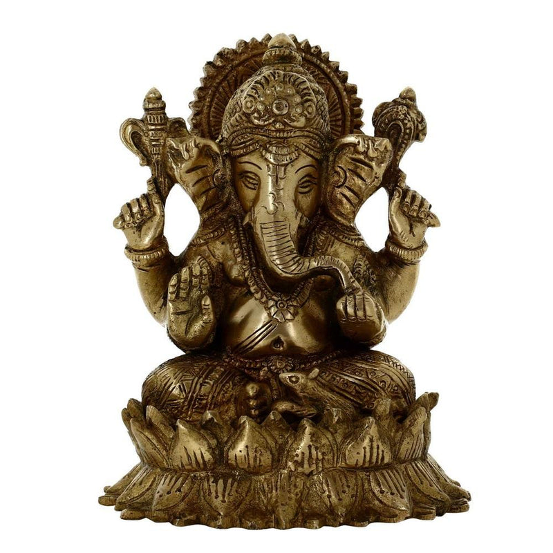 Indian Hindu God Sculptures Ganesha Seated On Lotus Brass Decor Gifts 5.5 Inches