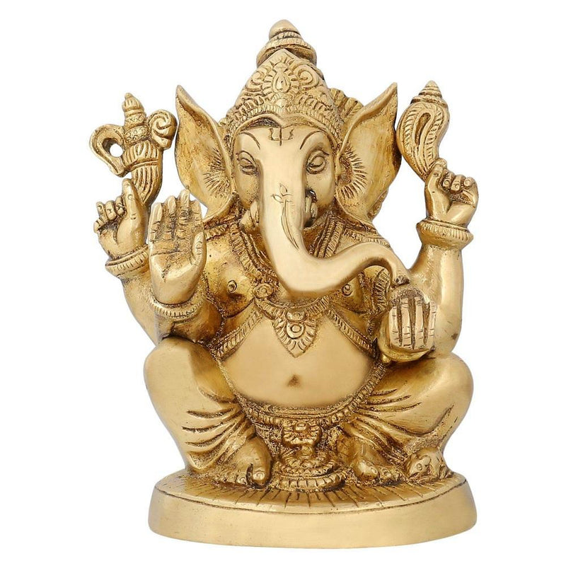 Hindu God Statues Ganesha Religious Sculpture Brass India Style Décor 6.5 inch