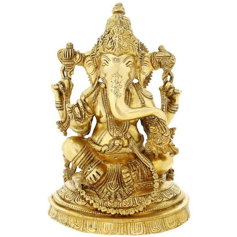 Brass Statue Hindu God Ganesh For Puja Large 11 inchWeight-4.4 Kg Religious Gift