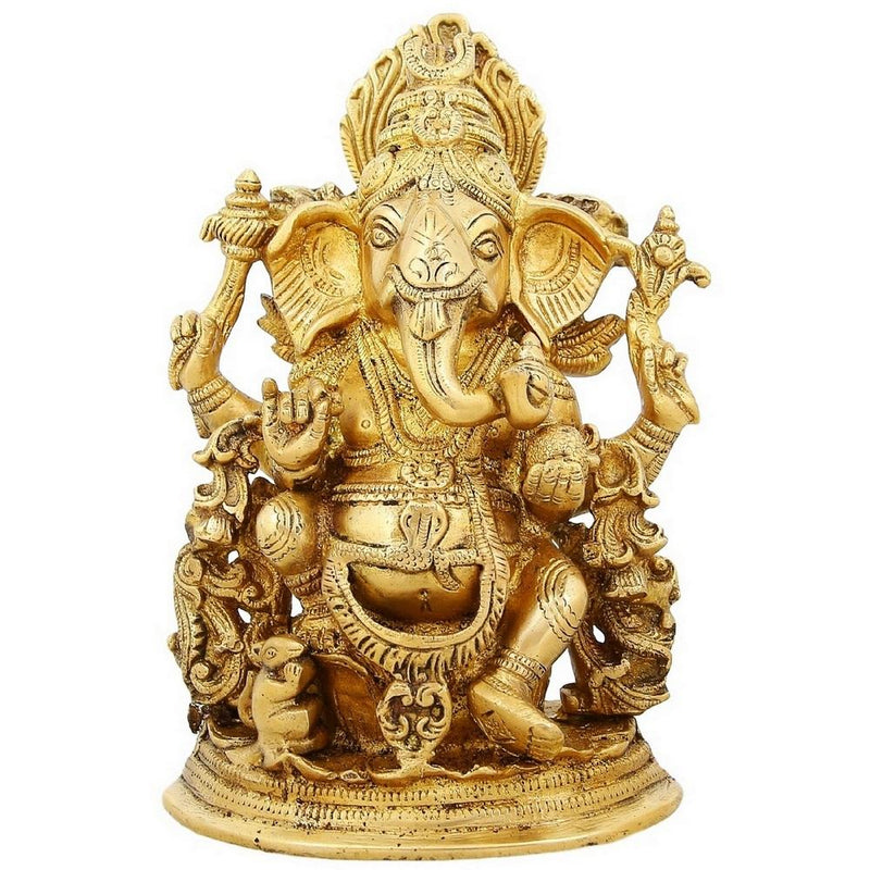 Hindu God Ganesh Brass Statue Religious Home Décor 9 inch Weight-4 Kg