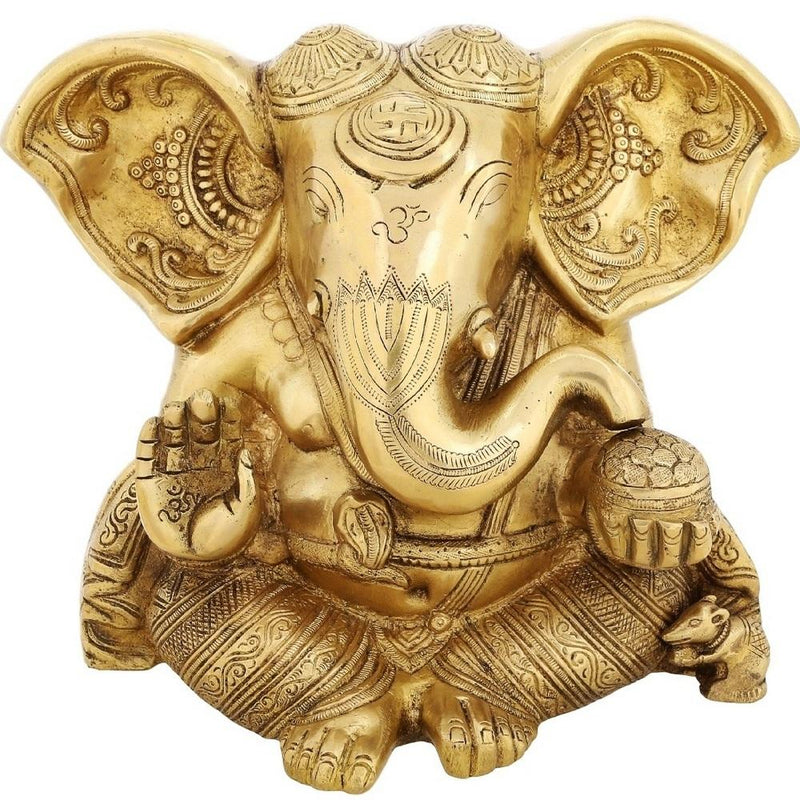 Hinduism Symbol Seated Long Ear Lord Ganesh Brass Sculpture Hindu God Décor 8 inch Weight-5.8 kg