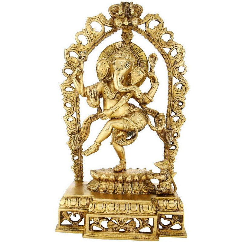 Indian Gifts From India Dancing Ganesha Large Brass Figurines 16 inch Weight-5.5 Kg