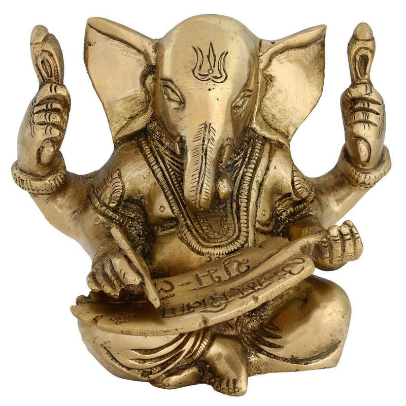 Lord Ganesha Statue Hindu Ornament Brass Sculpture Indian Home Décor 4 Inches -1 Kg