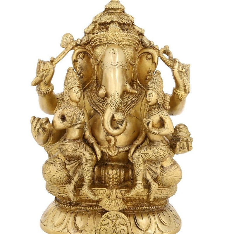 Lord Ganesha With Riddhi Siddh Brass Statue Large Religious Décor 12.5 inch Weight-9.1 Kg