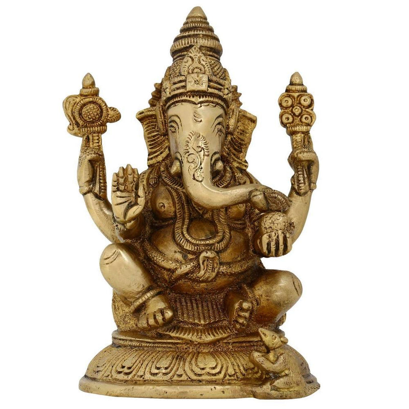 Brass Sculpture Ornaments Hindu Good Luck God Ganesh Ganesha Statues Size:H-5.25L-2.75W-2 Inches Weight:0.962 Kg